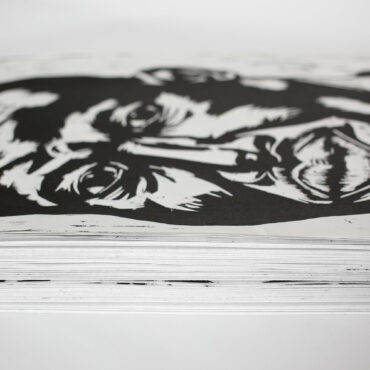 Think pile of a paper monument for the paperless woodcut prints on Hahnemuhle paper